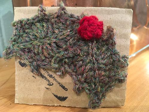 Handmade Crochet Holly brooch
