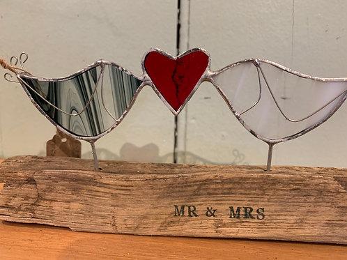 Handmade Glass MR & MRS Lovebirds