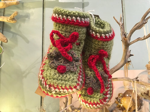 Creatwinity Handmade Crochet Christmas Bootees 6-9 months