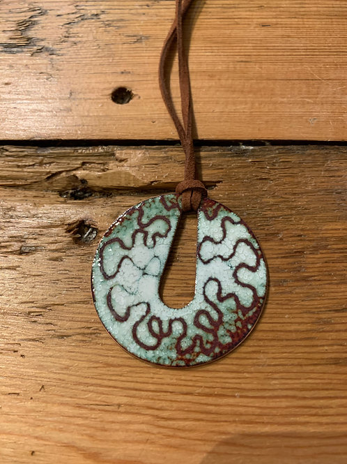 Nicky Sadler Handmade Copper and Enamel Lichen Pendant on Leather Cord NS60