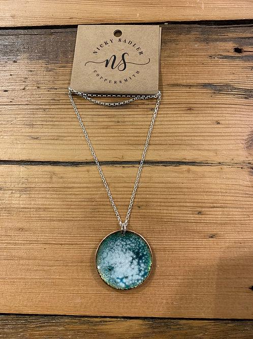 Nicky Sadler Handmade Copper & Enamel Emerald Speckle Pendant. NS76