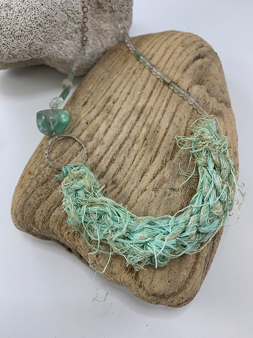 Eco Silver, Crochet Seastring and Recycled Glass bead Necklace