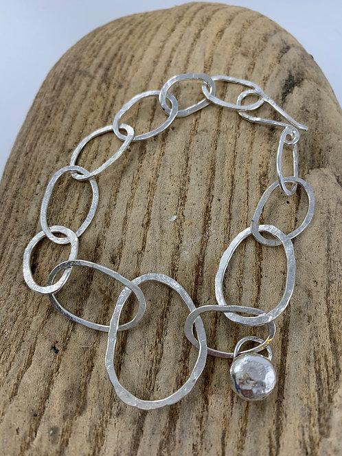 Eco Silver & Brass Pebble Bracelet