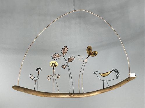 Bird in Garden Wire Decoration