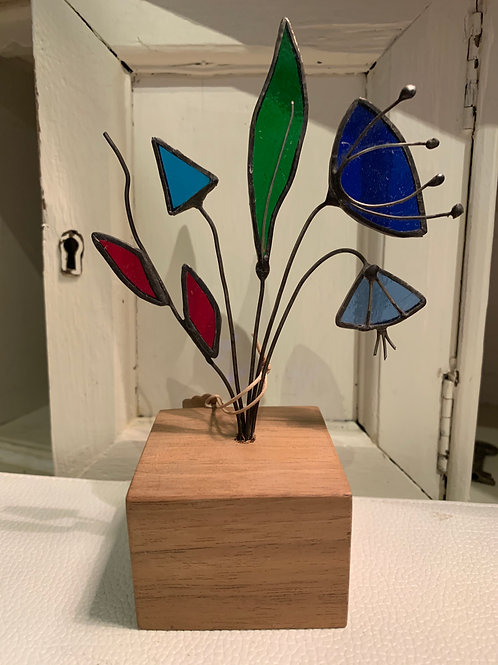 Cornish Beach Handmade Glass Flowers on Wooden Base