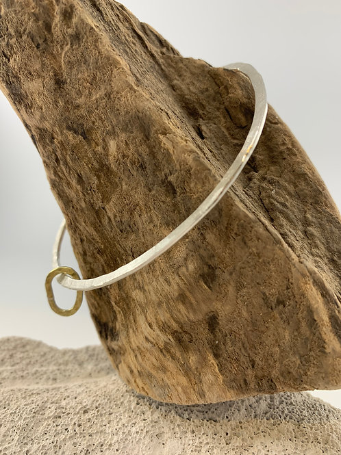 Eco Silver Bangle with Brass Pebble
