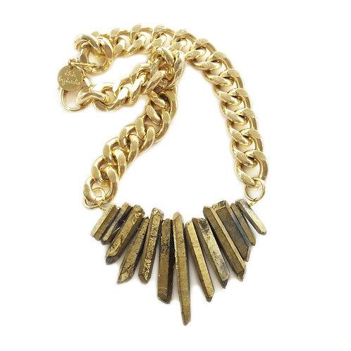 Rocked Up!  Crystal Quartz Gold Necklace