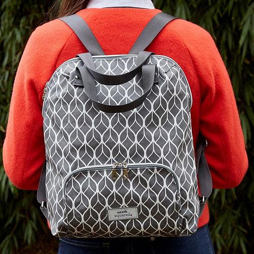 Oil Cloth Backpack Grey Geometric