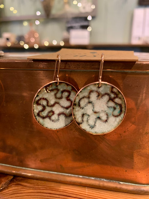 Lichen Copper & enamel earrings.  NS63