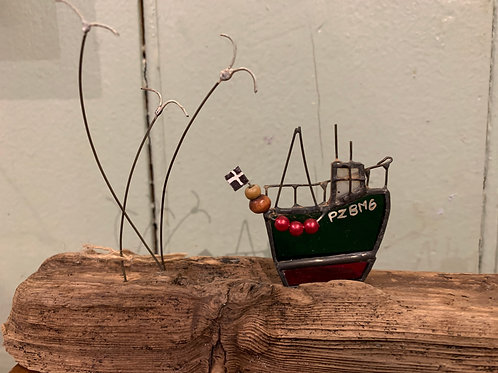 Handmade Glass Fishing Boat PZBM6