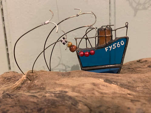 Handmade Glass Fishing Boat FY560