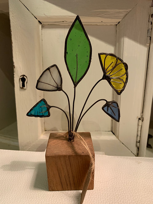 Cornish Beach Handmade Glass Flowers on Wooden Base