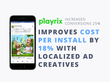 Playrix saw 18% improvement in Cost Per Install with Kaizen Ad localized to Japan video ad creatives