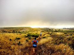 Sunrise runs are the best! Here we are today, running a downhill section after reaching Pico Areeiro