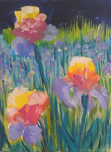 "Field of Iris 9"" x 12"" acrylic on canvas"