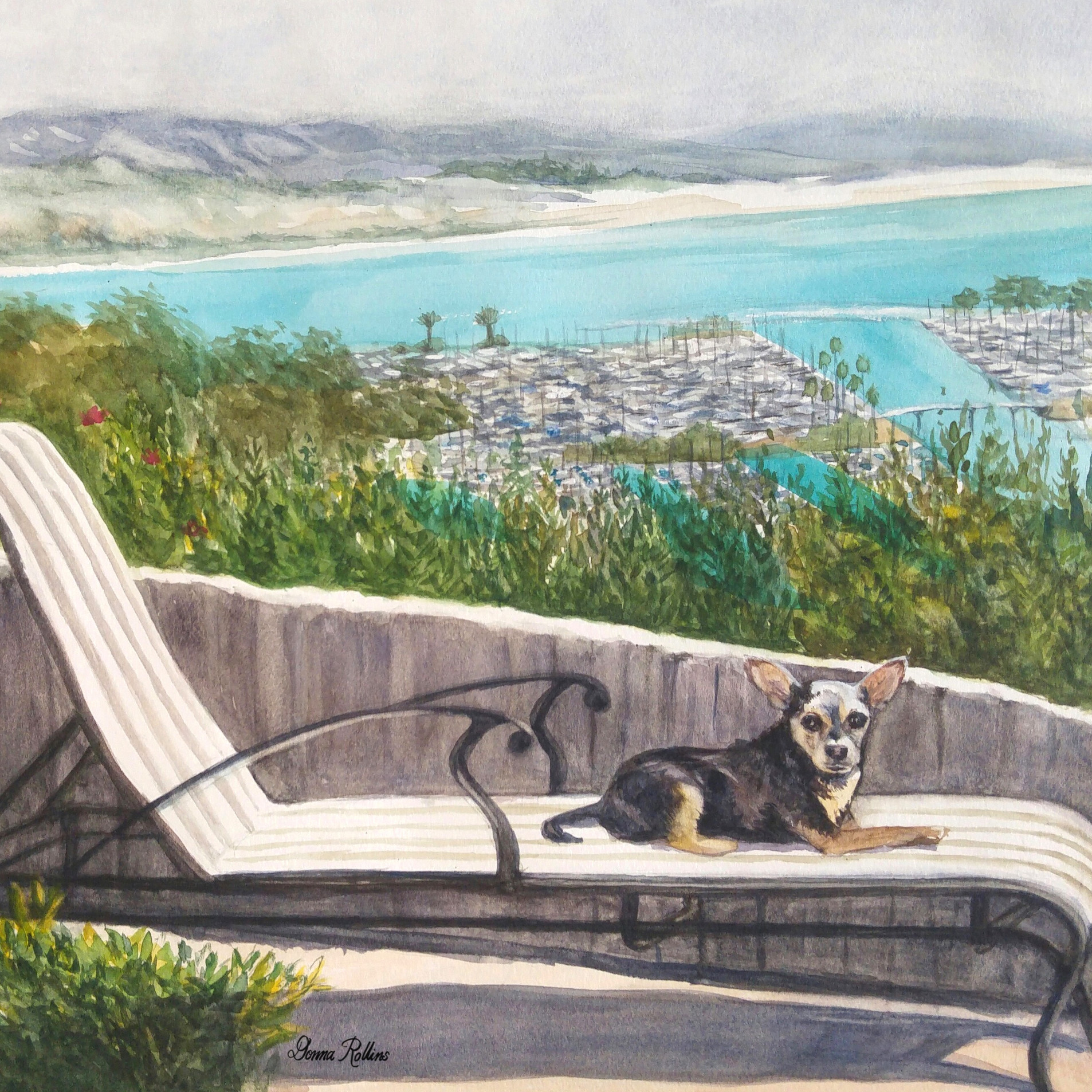 "Eddie Lounging, watercolor 20"" x 16"""