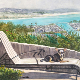 "Eddie Lounging, watercolor 20"" x 16"""