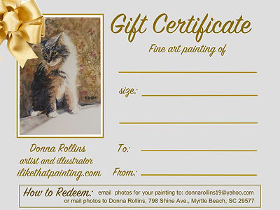 Gift Certificate for portrait painting