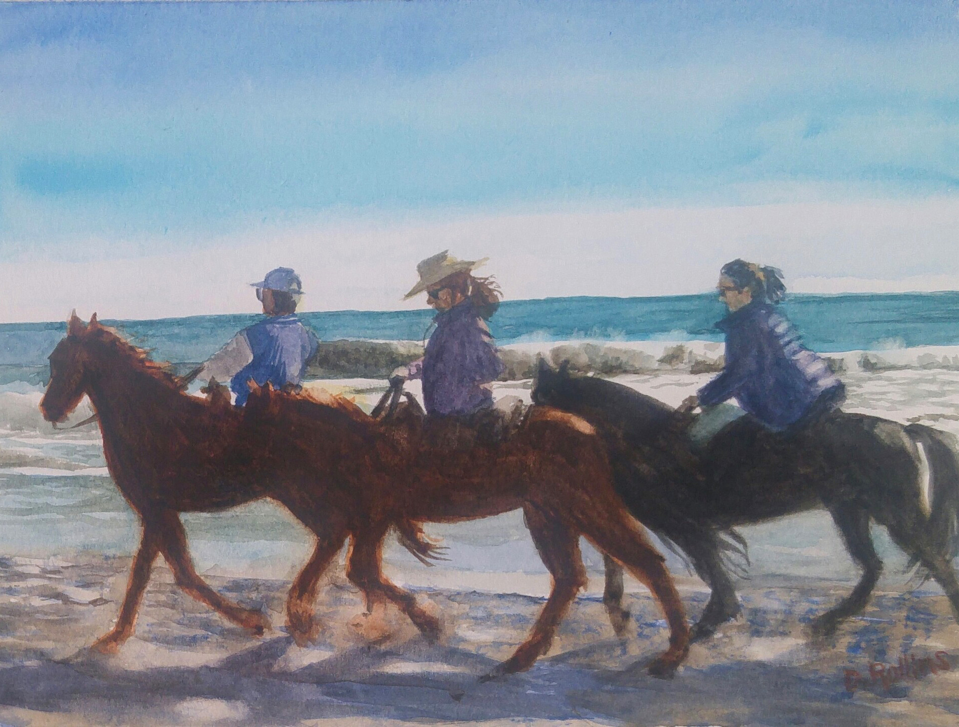 "Horses on Beach, watercolor 12"" x 9"""