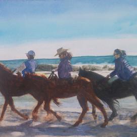"Horses on Beach, watercolor 12"" x 9"""