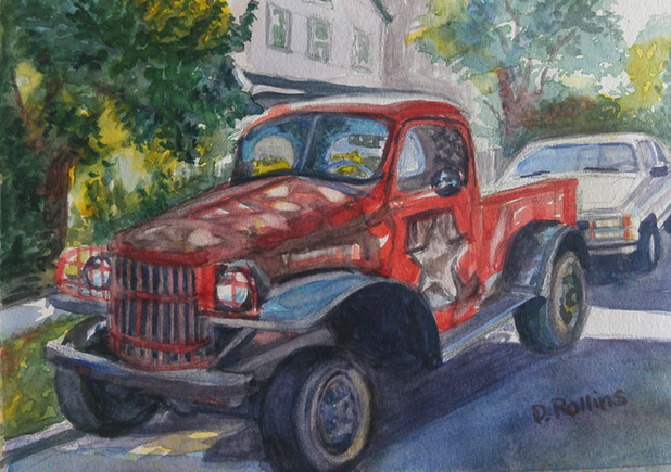 "Red Truck 10"" x 8"" watercolor on paper"