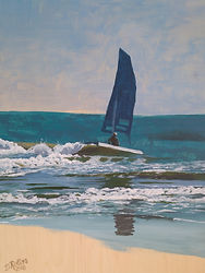 Hobie Cat, acrylic on birch 18_ x 24_