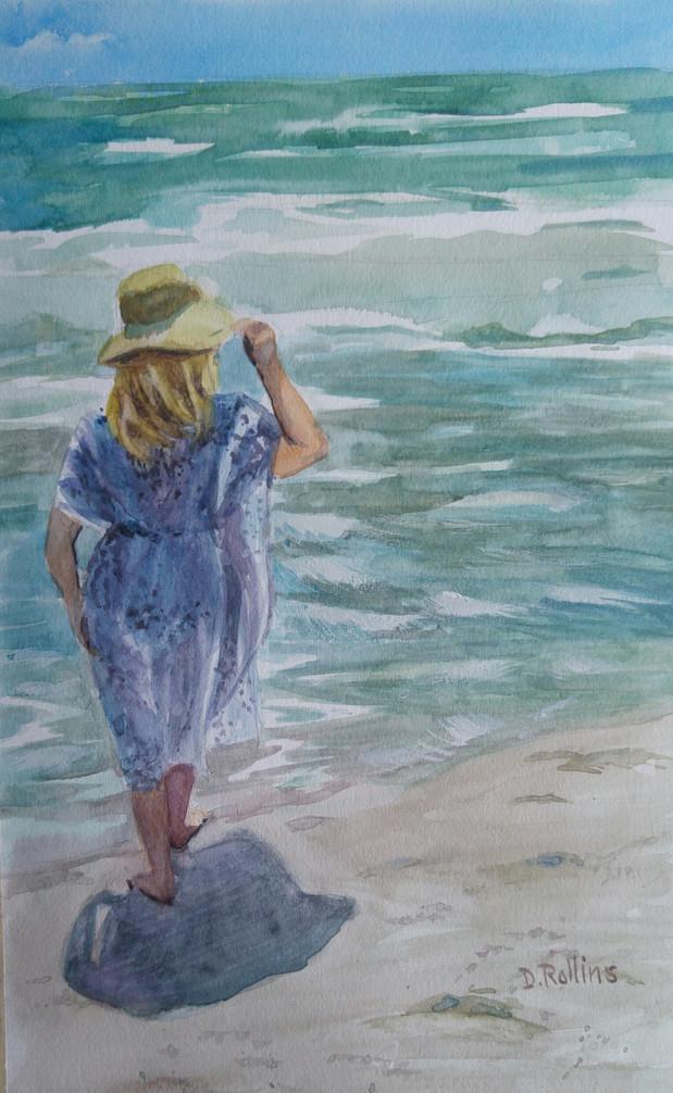 "Wave Watching, watercolor 11"" x 17"""