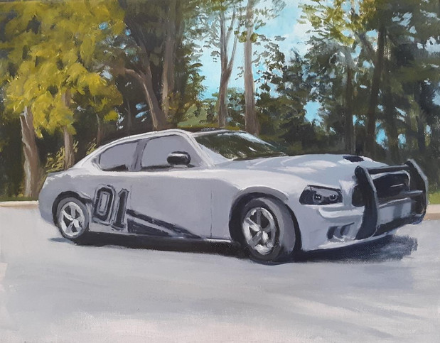 """Dodge Charger 10"""" x 8 """" acrylic on canva"""