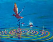 "Happy Landing 24"" x 36"" acrylic on canva"