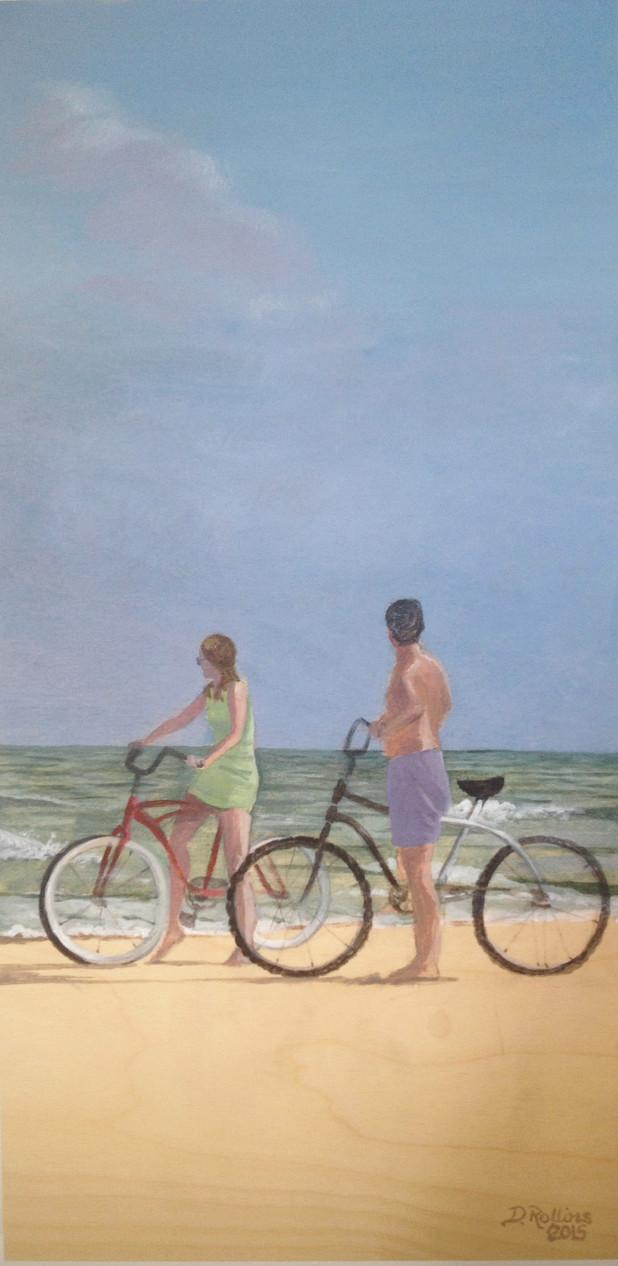 Bicycles on the Beach, acrylic on birch
