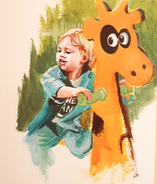 Boy with giraffe