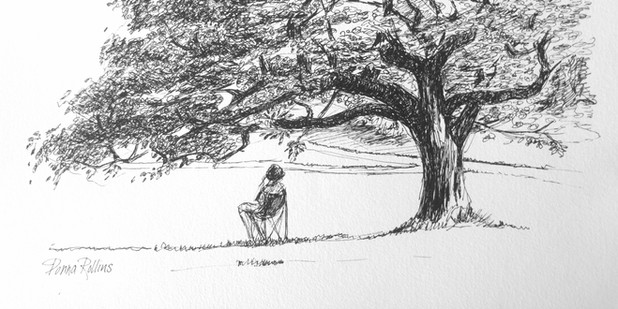 Summer afternoon, pen and ink