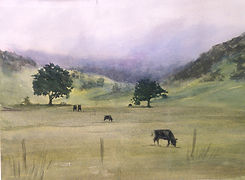 landscpe painting, watercolor, cows, cows in pasture painting