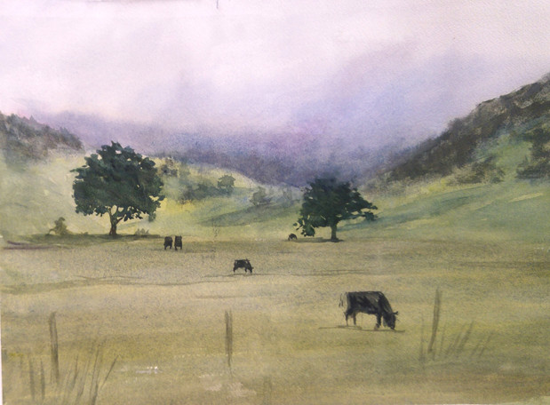 "Field with Cows, watercolor 20"" x 16"""