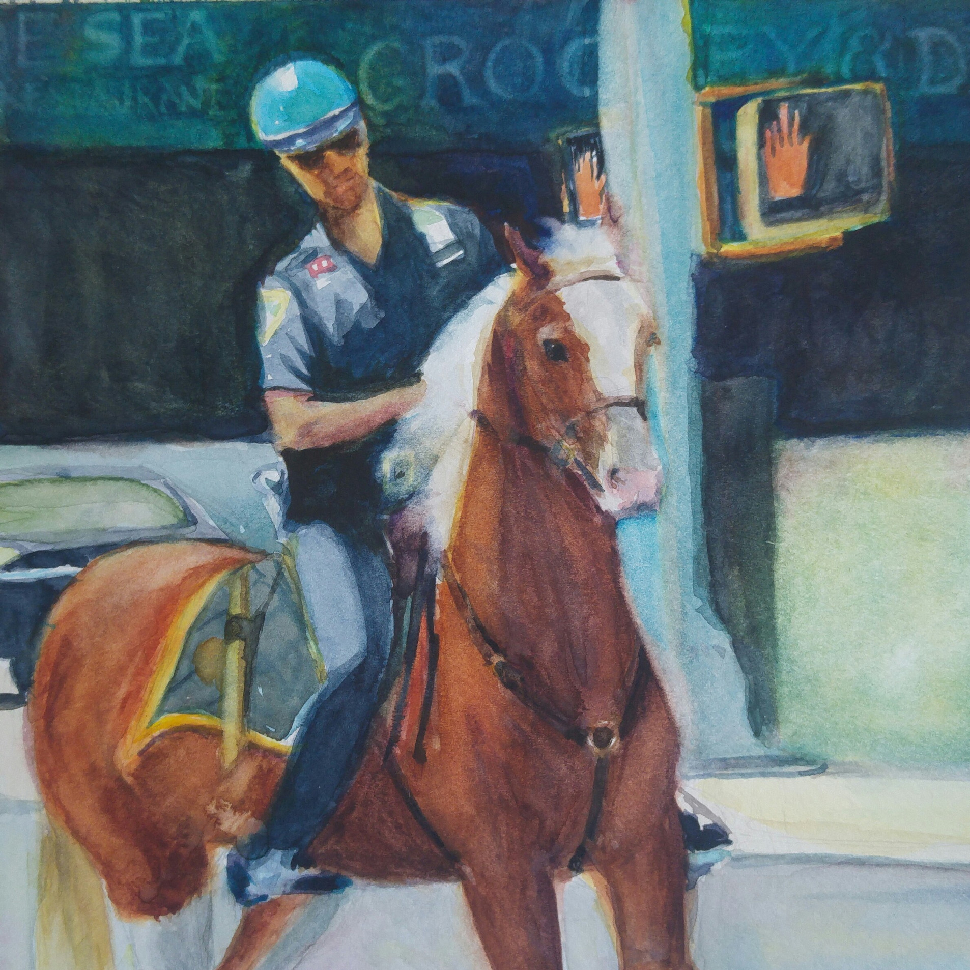 "mounted policeman, watercolor 9"" x 12"""