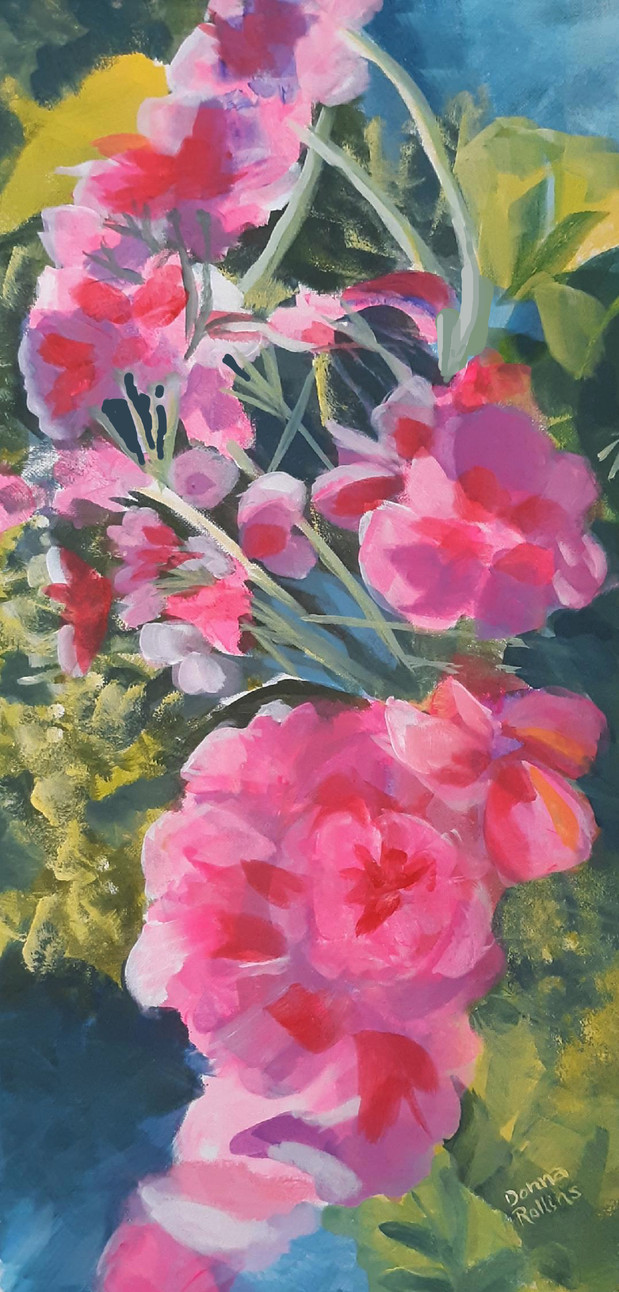 """Geraniums 12"""" x 24"""" acrylic on canvas"""