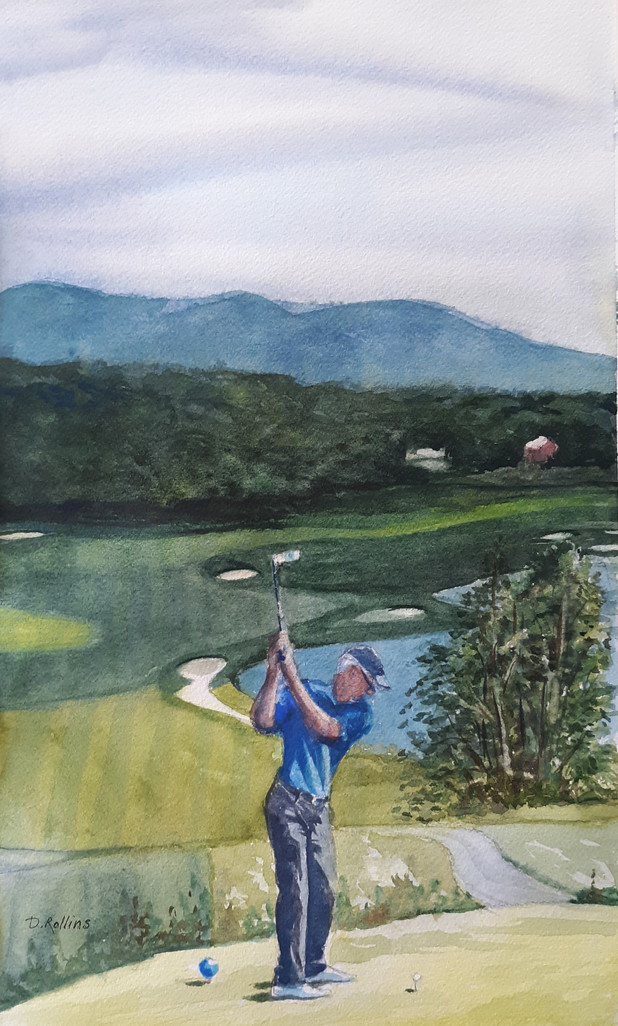 """Lazy Swan Golf Course, watercolor 11"""" x"""