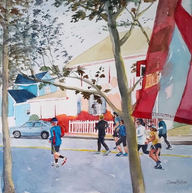 """Morning Run, watercolor 12"""" x12"""""""
