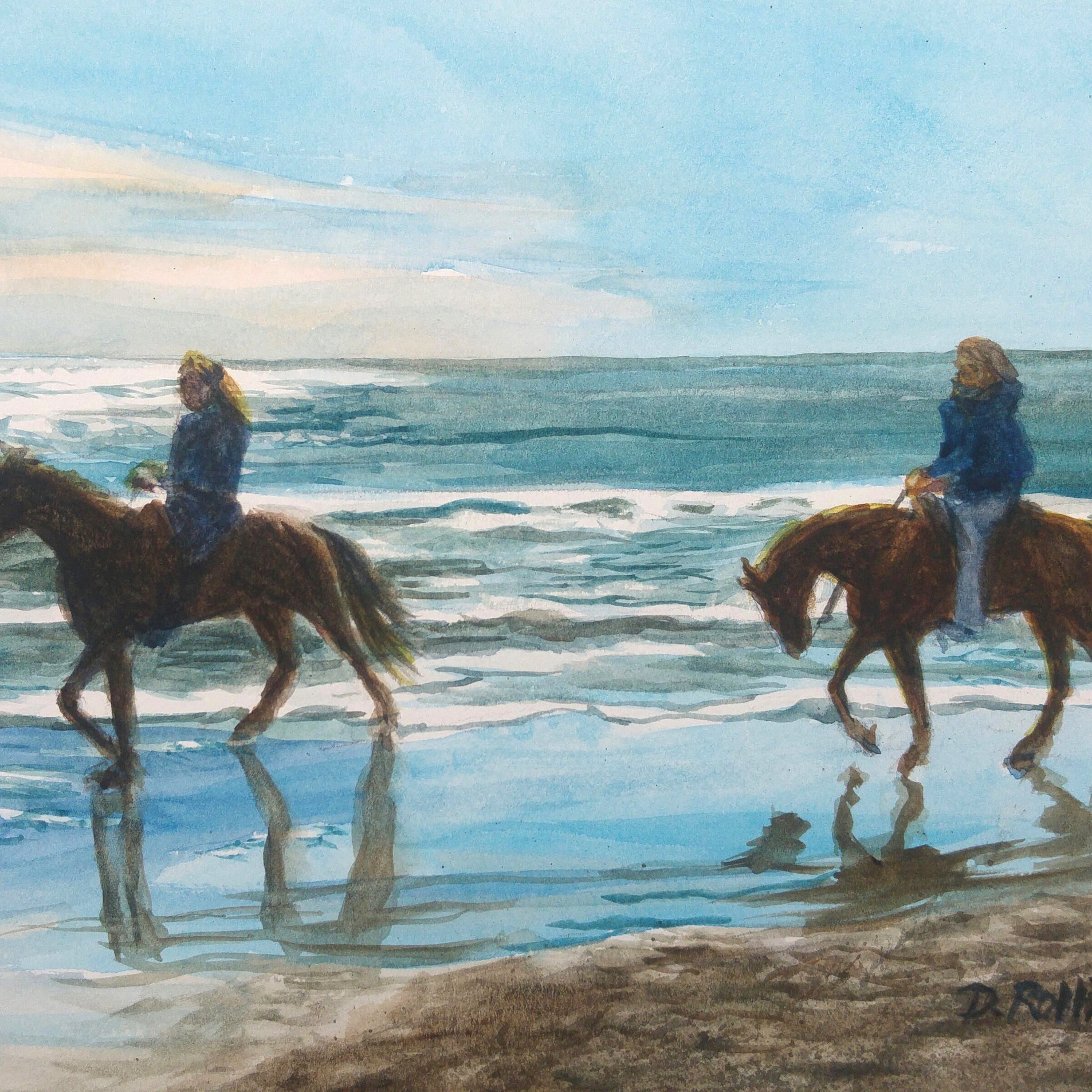 "Horses on Beach watercolor, 12"" x 9"""
