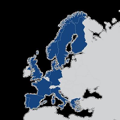 Europakartet med hvilken land vi har samarbeidspartnere