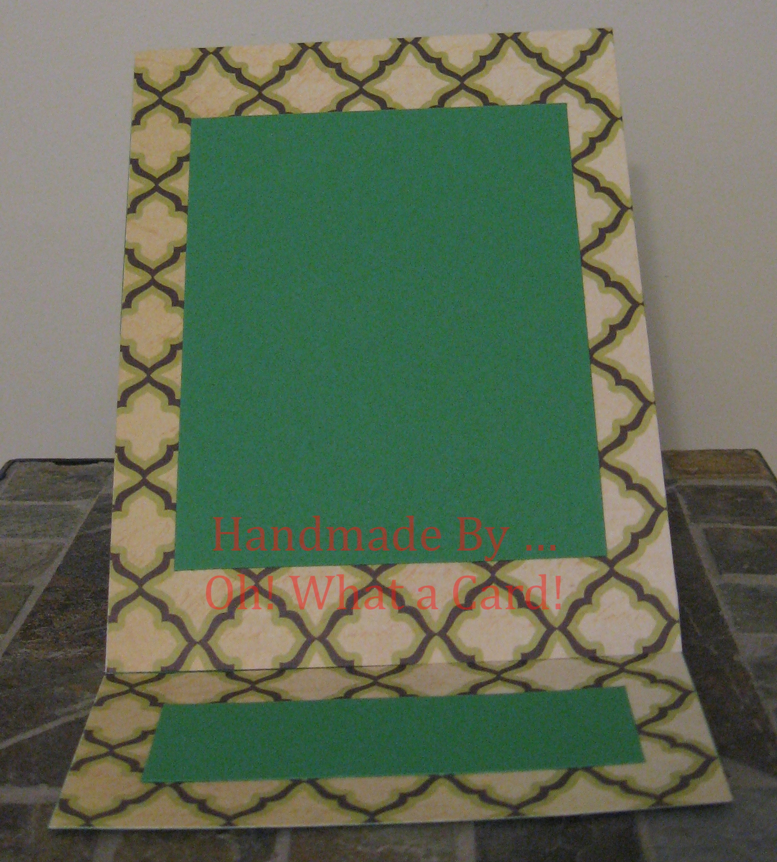 Picture Frame Dark Green Diamonds Mantle Display Card