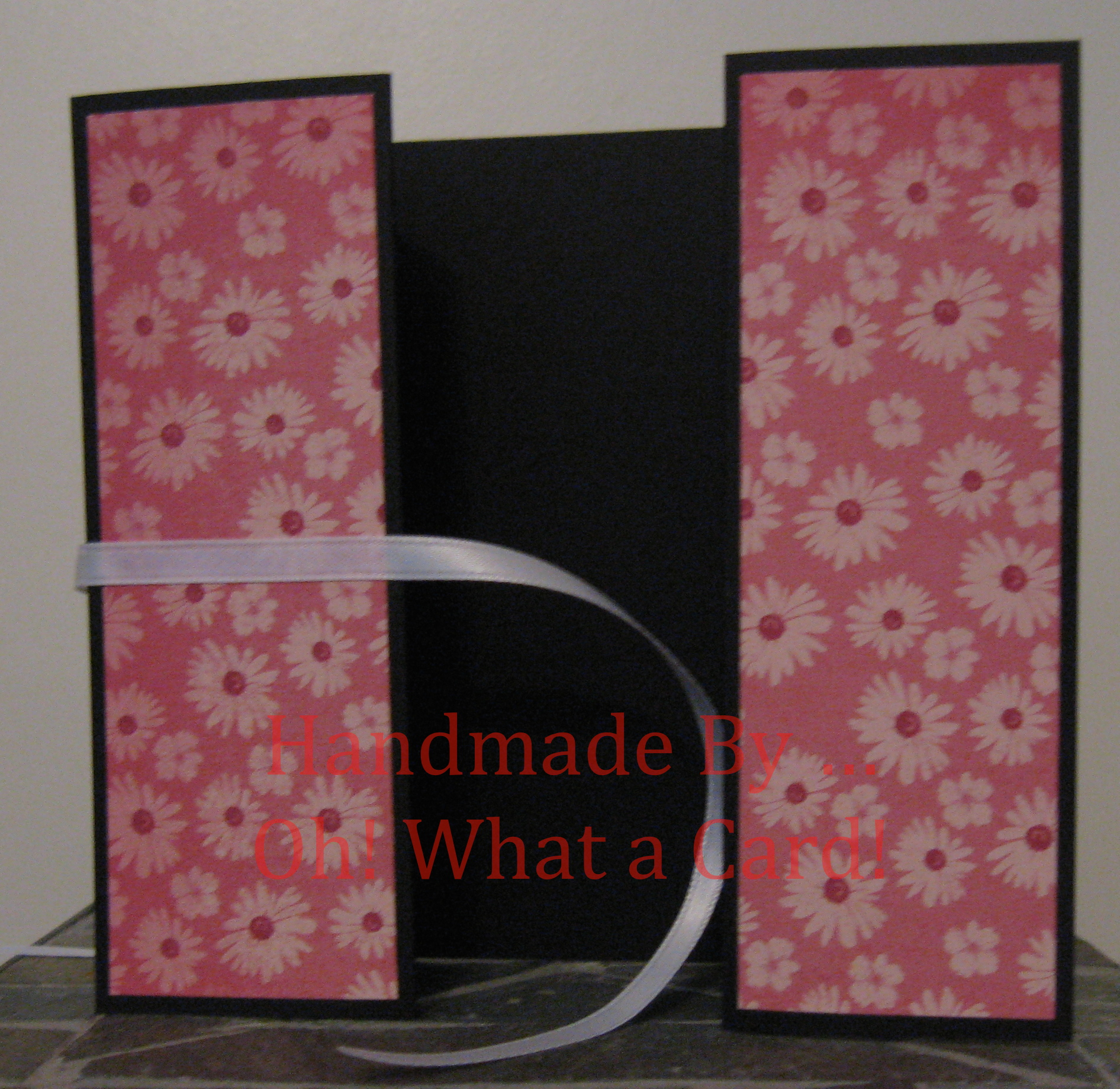Black & Pink Flowers Shutter-Fold Card