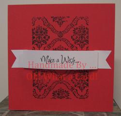 Make a Wish Damask - Red Card