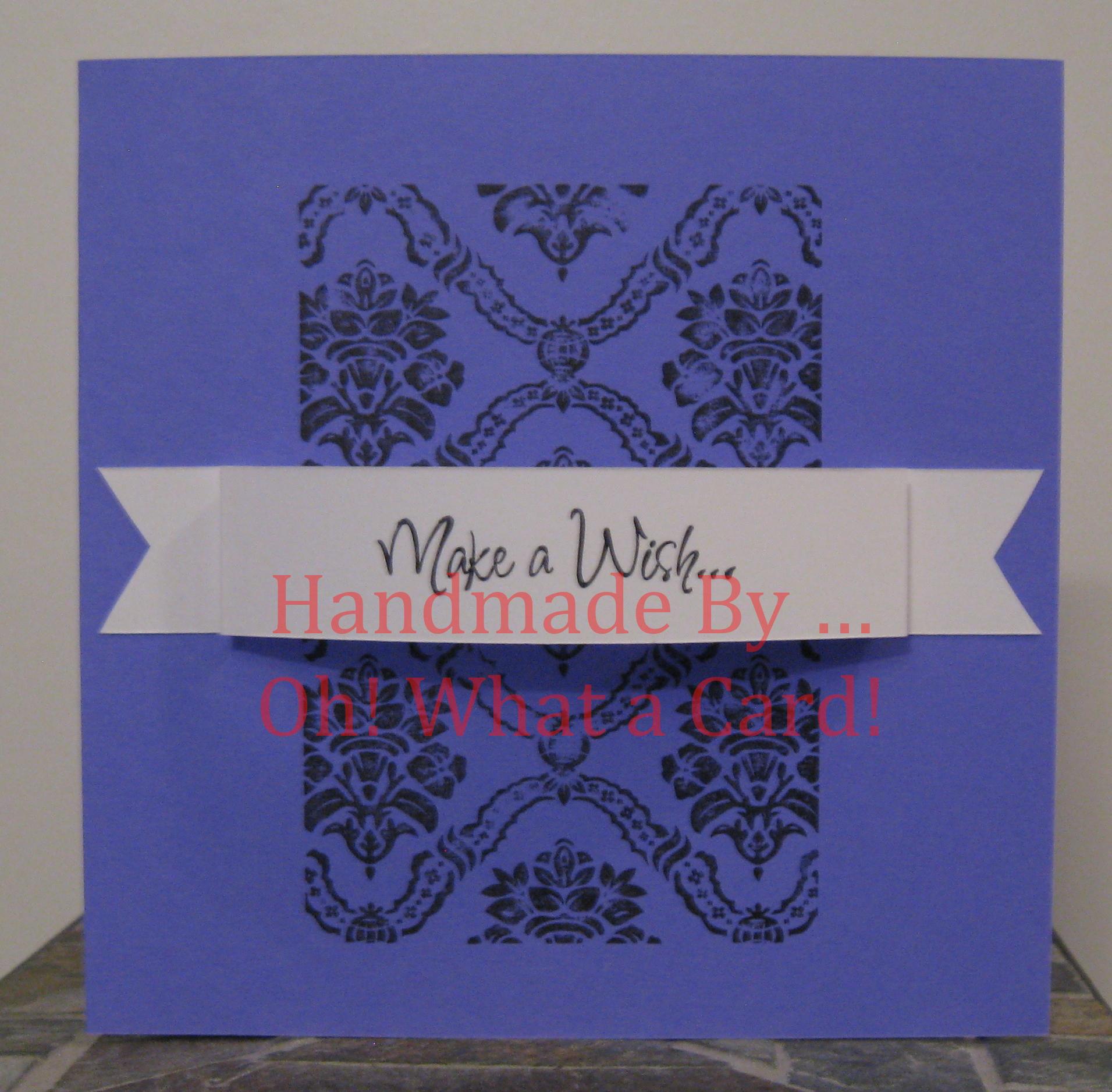 Make a Wish Damask - Purple Card