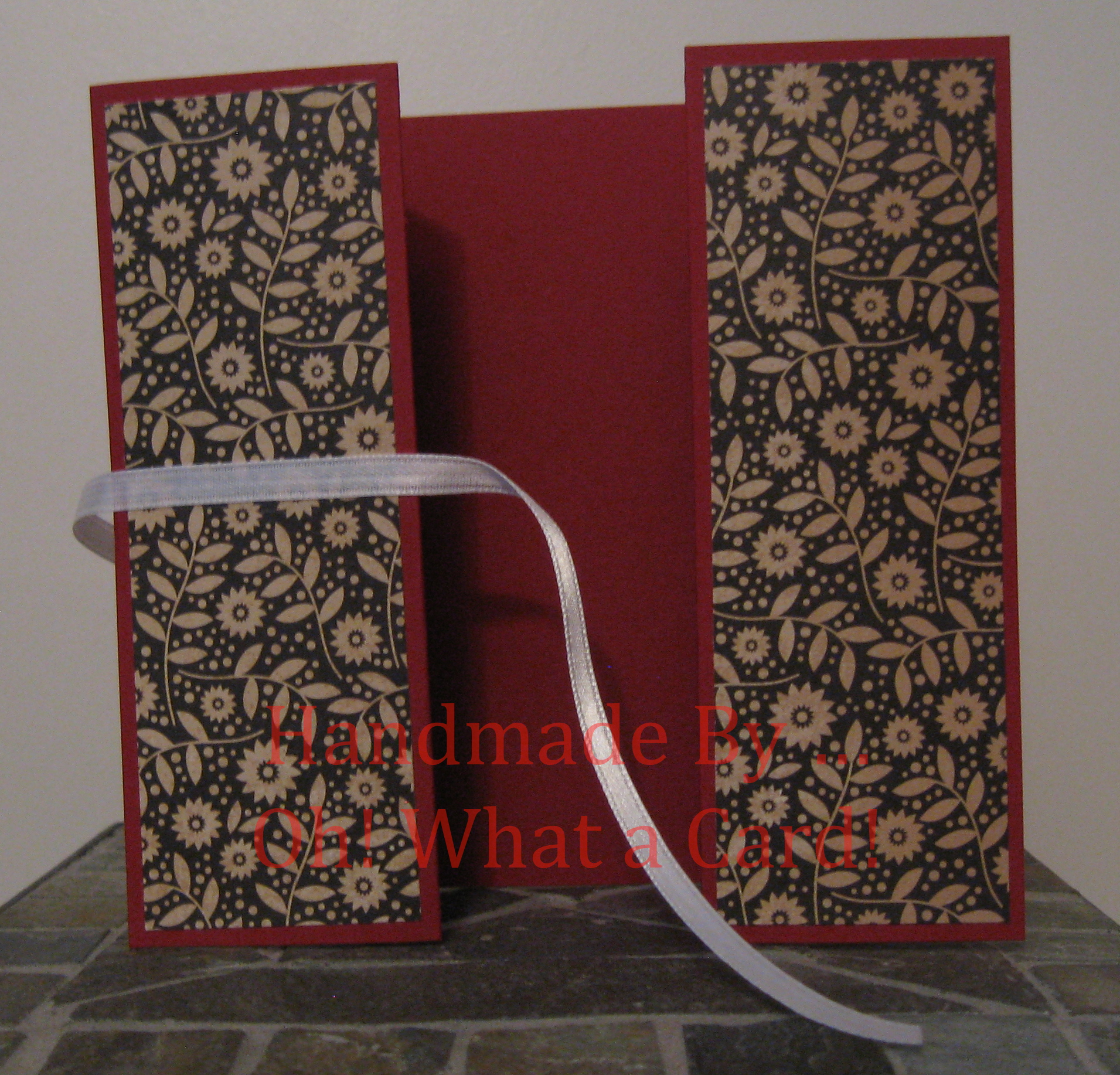 Burgundy Floral Shutter-Fold Card