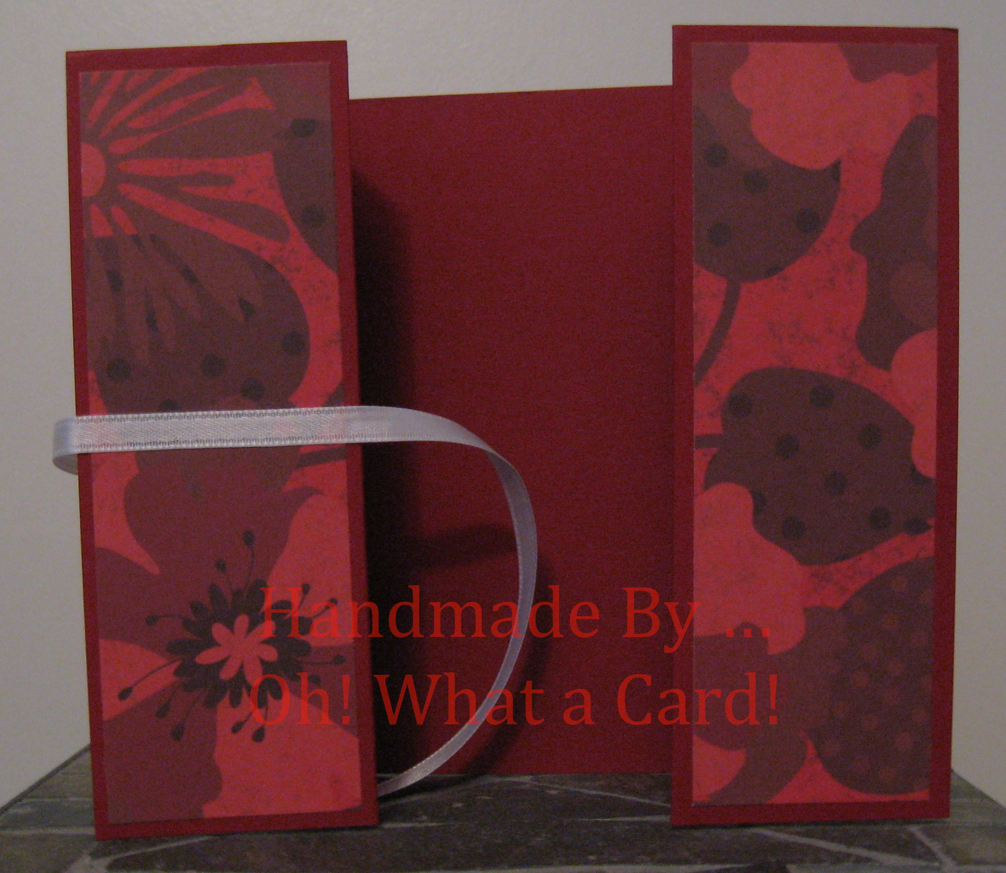 Burgundy Flowers Shutter-Fold Card