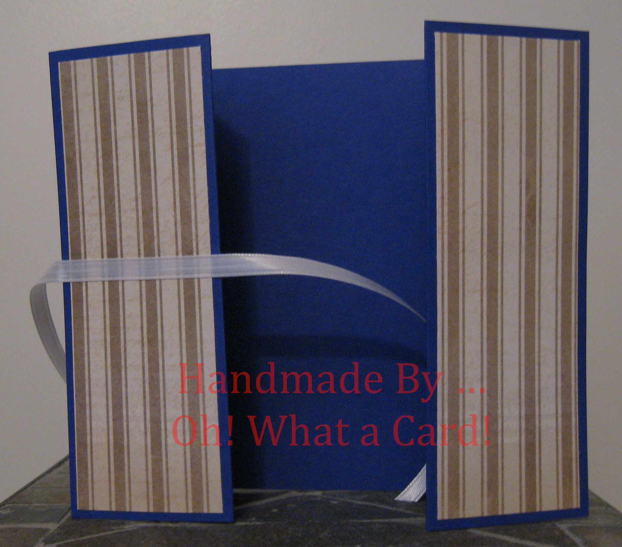 Golden Blue Stripes Shutter-Fold Card