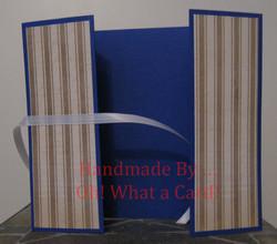Golden Blue Stripes Shutter-Fold Card