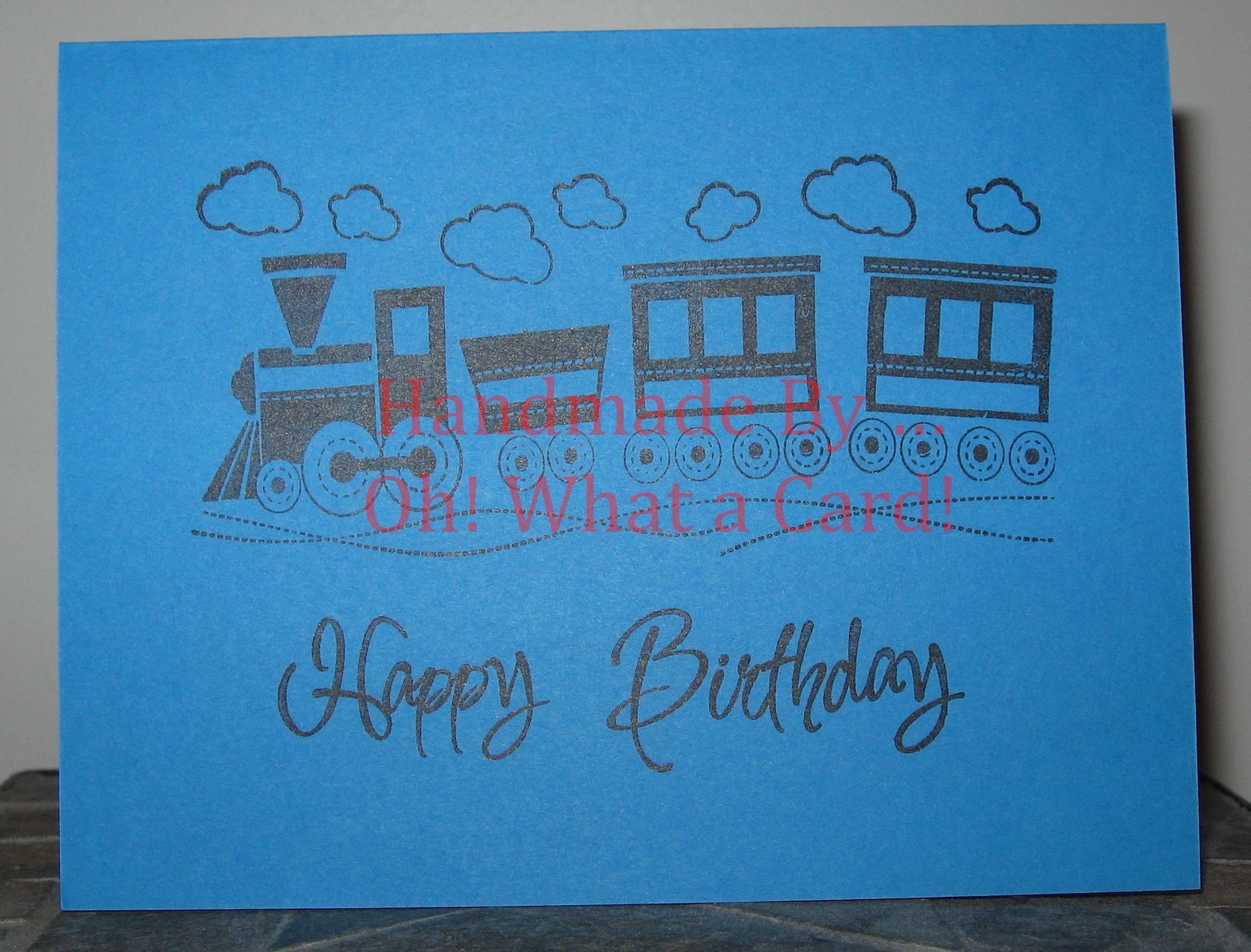 Blue Train - Happy Birthday Card