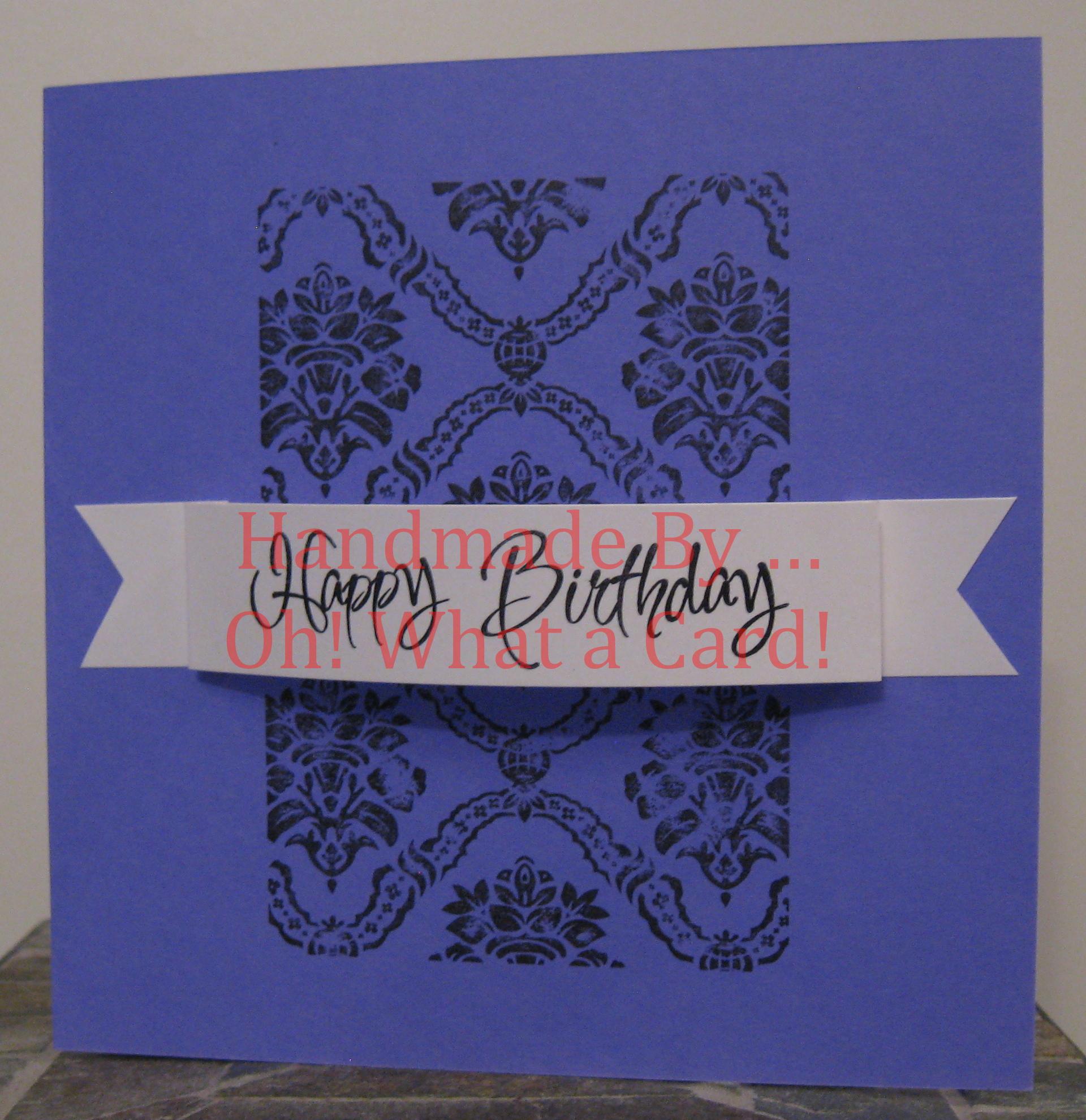 Happy Birthday Damask - Purple Card